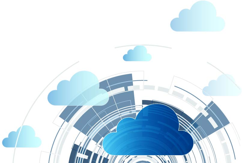 Abstract image, wheel shaped background with clouds floating in front representing data.